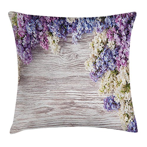 Lilac Table Cover - HONGZHESM Rustic Home Decor Throw Pillow Cushion Cover, Lilac Flowers Bouquet on Wood Table Spring Nature Romance Love Theme, Decorative Square Accent Pillow Case, 18x18 Inches, Violet Brown
