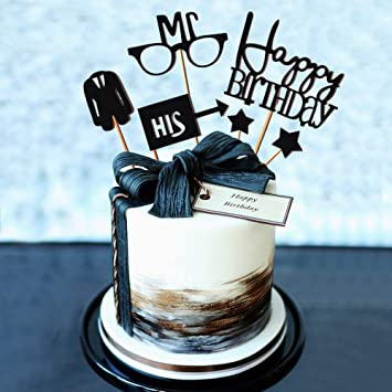 Set Of 6 JeVenis Gentleman Birthday Cake Topper Husband Decoration For Father Or