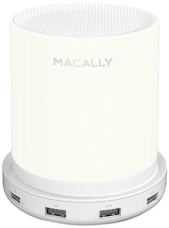 Macally LAMPCHARGE-EU lámpara de mesa regulable, con cargador USB (24W), sensor táctil y luz blanca cálida suave (euroenchufe de dos clavijas)