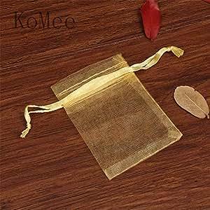 Amazon.com: XLPD 100Pcs 5X7 7X9 9X12cm White Organza Bags ...