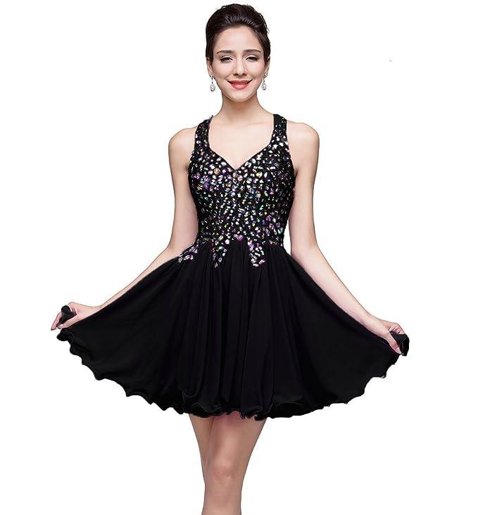Amazon.com: MisShow Juniors Short Crystal Chiffon Homecoming Prom ...