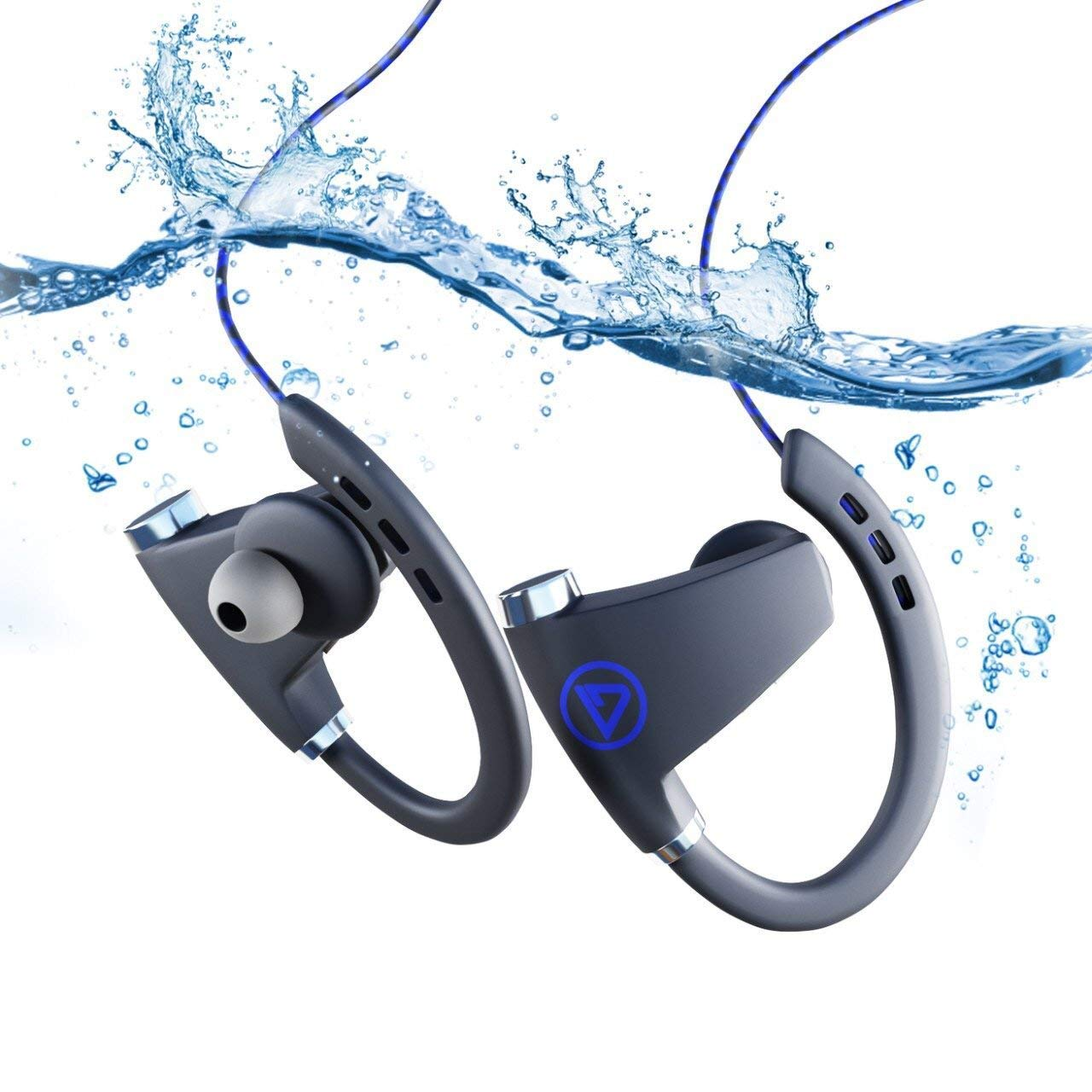Bluetooth Headphones, Best Wireless Sports Earphones w/Mic IPX7 Waterproof HD Stereo Sweatproof Earbuds for Gym Running Workout 12 Hour Battery Noise Cancelling Headsets (Blue)