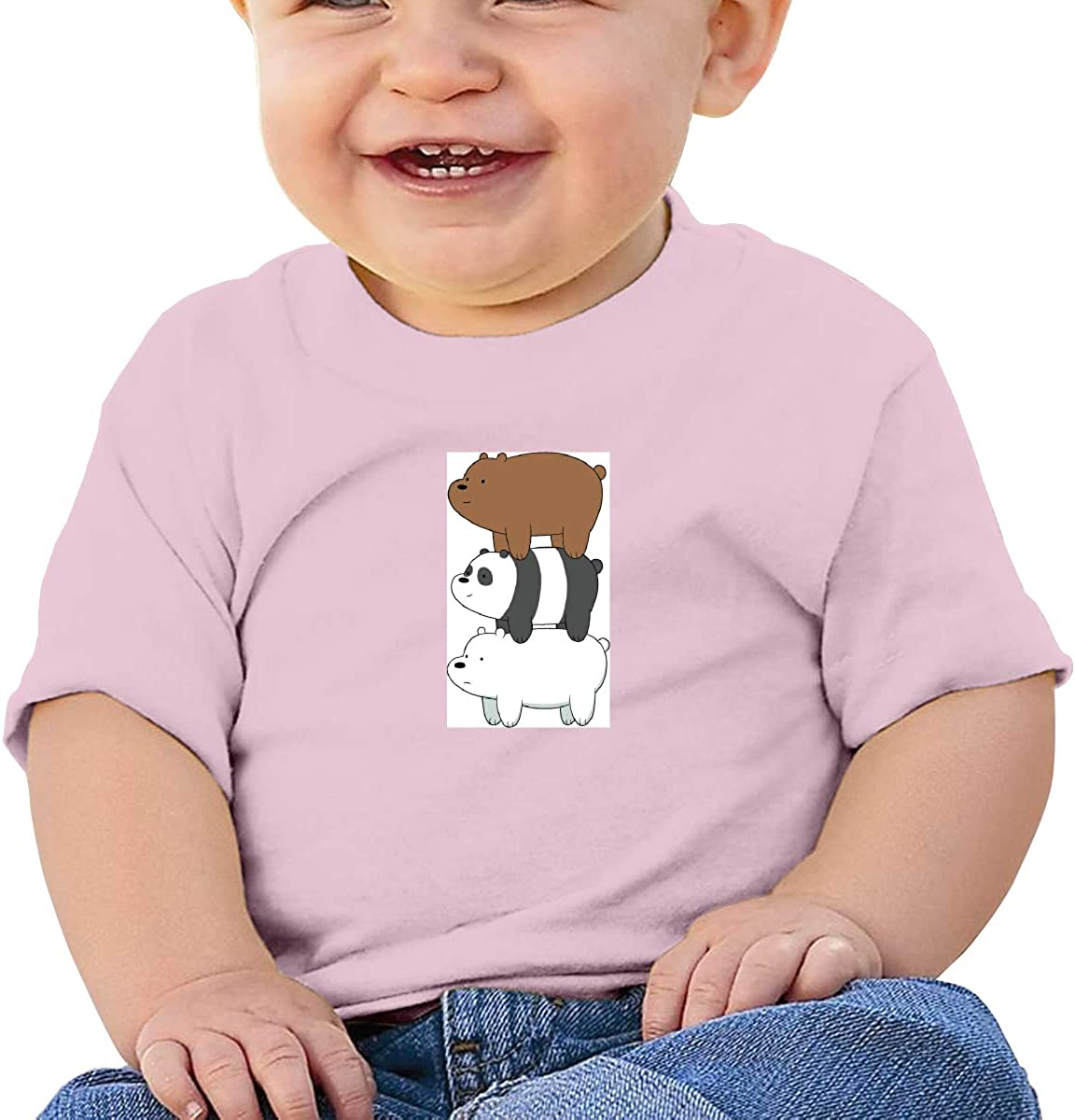 GanCheng The Three Bare Bears Tee Flexible Black Tshirts for Infant
