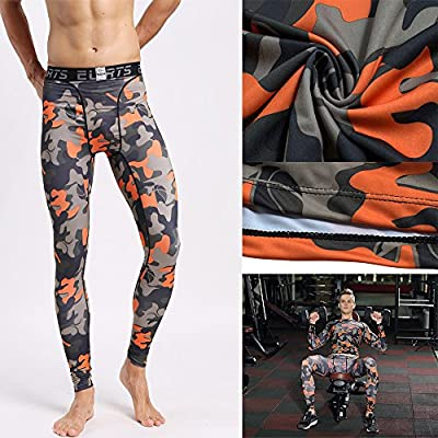 BS Mens Compression Running Tights- Base Layer Pants Leggings For Workout,Cycling, Sports,Training, Weightlifting- All Size Camo Orange