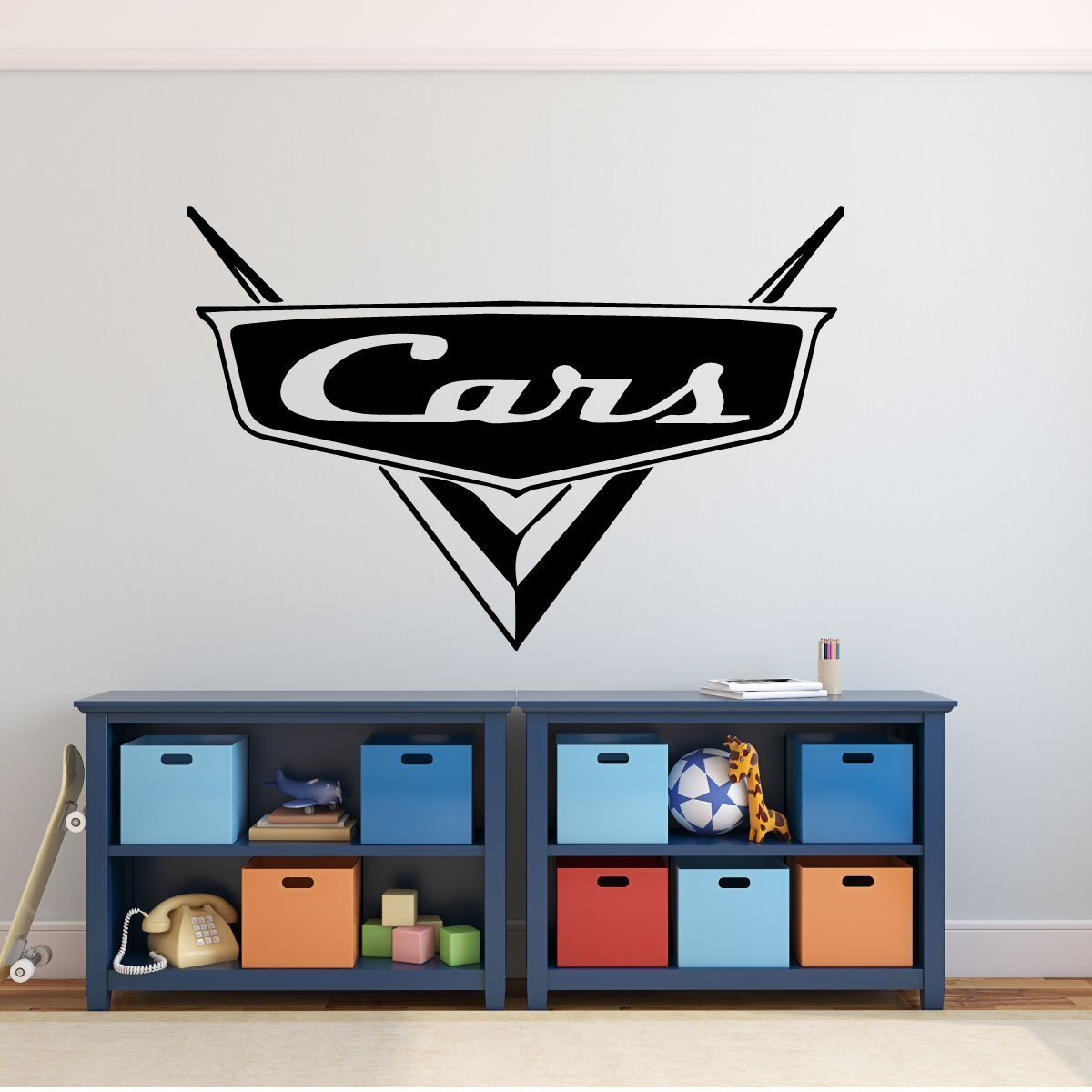 Custom Name Disney Pixar Cars Decal - Personalized Emblem Wall Decal for Man Cave or Garage - Removable Vinyl Wall Decoration for Boy's or Girls Bedroom, Playroom, Gameroom or Office