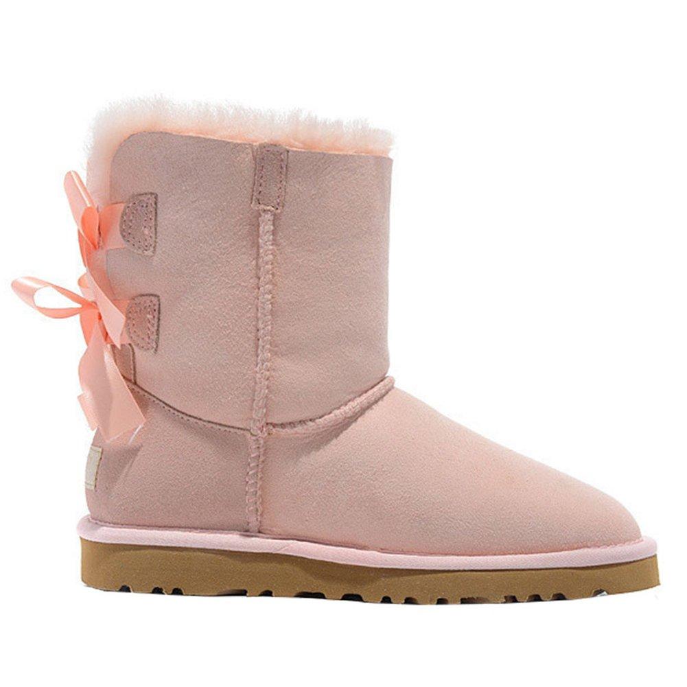 VOCOSI Damenschuhe PlüschUsual Winterstiefel, 2018 Leder Schuhe Bogen PlüschUsual Damenschuhe Warm Stiefel Pink f2cd20