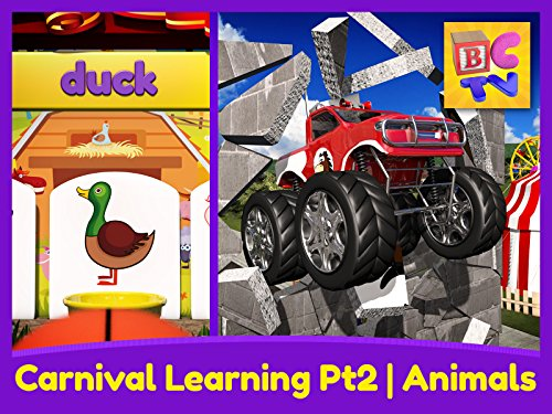 Carnival Learning Pt2 - Learn Farm Animals with Monster Trucks and a Carnival Game for Kids ()