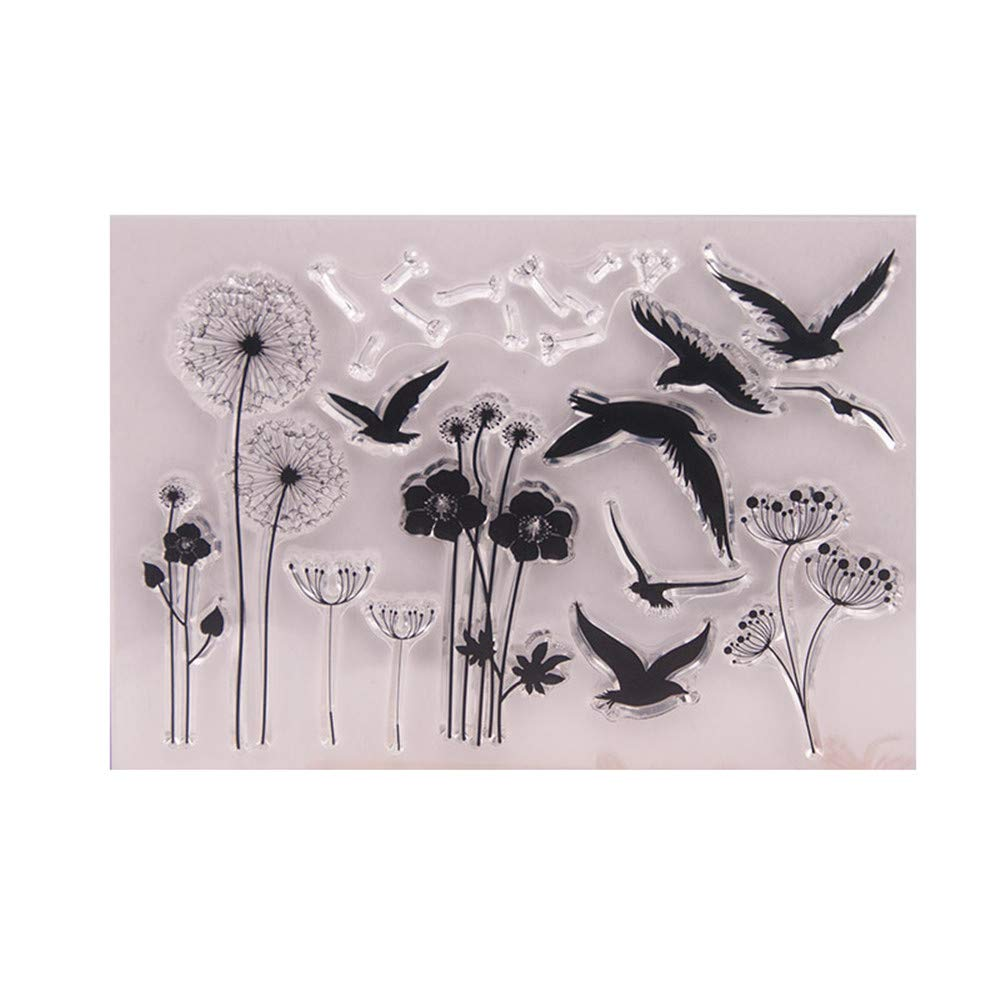 Dandelion Flying Bird sea Gull Stamp Rubber Clear Stamp//Seal Scrapbook//Photo Album Decorative Card Making Clear Stamps