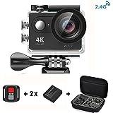 Daping Action Cam 1080p / 60fps H264, Videocamera Full HD 2.4G 2 Pollici LCD 170 gradi Ultra-wide Angle Lens 12 Megapixel, Sport Cam 4k Impermeabile fino a 30 metri, 2 Batterie + Vari Accessori (Con Telecomando)