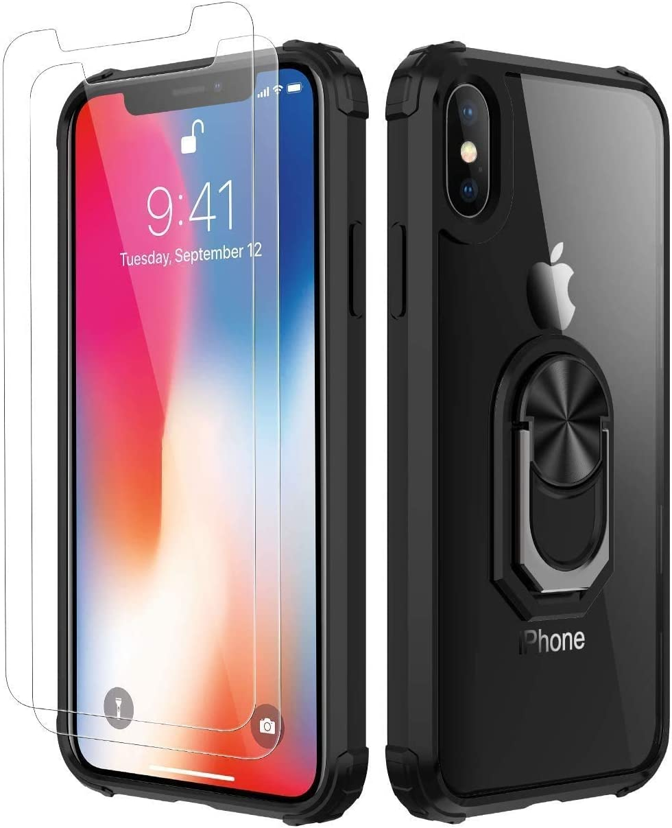 iPhone X Case, iPhone Xs Case,[ Military Grade ] with [ Glass Screen Protector] 15ft. Drop Tested Protective Case, Kickstand, Compatible with Apple iPhone X Xs -Black
