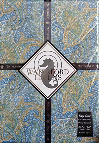 Waterford Linens Fabric Tablecloth - Paisley Blue Green -- 60 Inches by 126 Inches by Waterford Linens