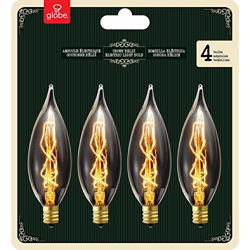 globe electric 25w vintage edison ca10 flame tip incandescent filament light bulb 4 pack e12. Black Bedroom Furniture Sets. Home Design Ideas