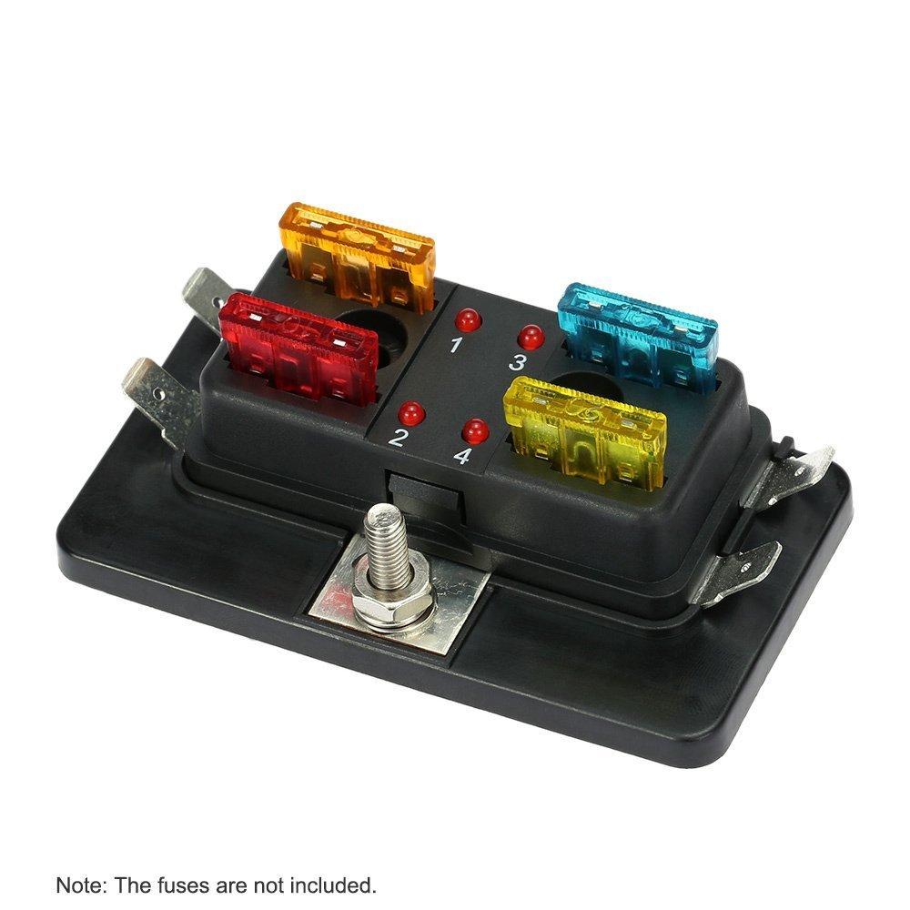 KKmoon 4 Ví as Caja de Fusibles Portafusibles con Iluminació n LED Alerta Juego para Auto Barco Marino Trike 12 V 24 V