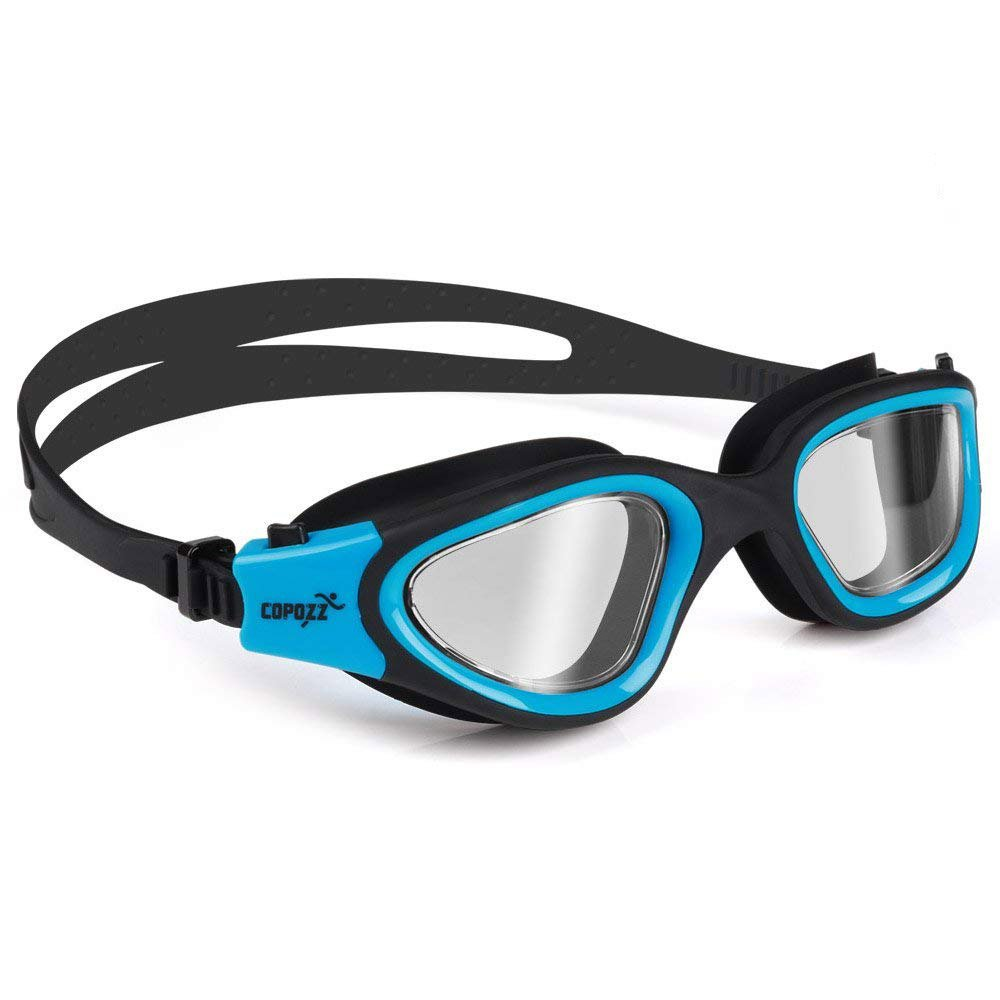 COPOZZ Swim Goggles, G3720 Mirrored/Crystal Clear Swimming Goggles Wide View No Leaking Anti Fog UV Protection Swim Goggles with Adjustable Strap Free Protection Case for Men Women Youth