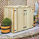 DOUBLE 240L WHEELIE BIN WOODEN STORE STORAGE CHEST