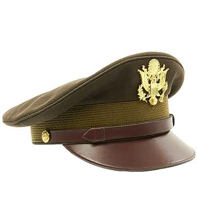 7cb1318c5 US WWII Officer Visor Crusher Cap: Winter (OD Green)- Size US 7 3/4 (62 cm)