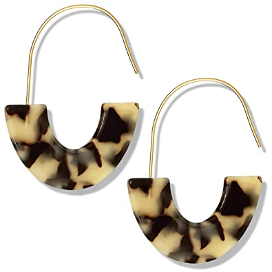 Jane Stone Womens Acrylic Hoop Earrings Mottled Large Resin Hoop Earrings