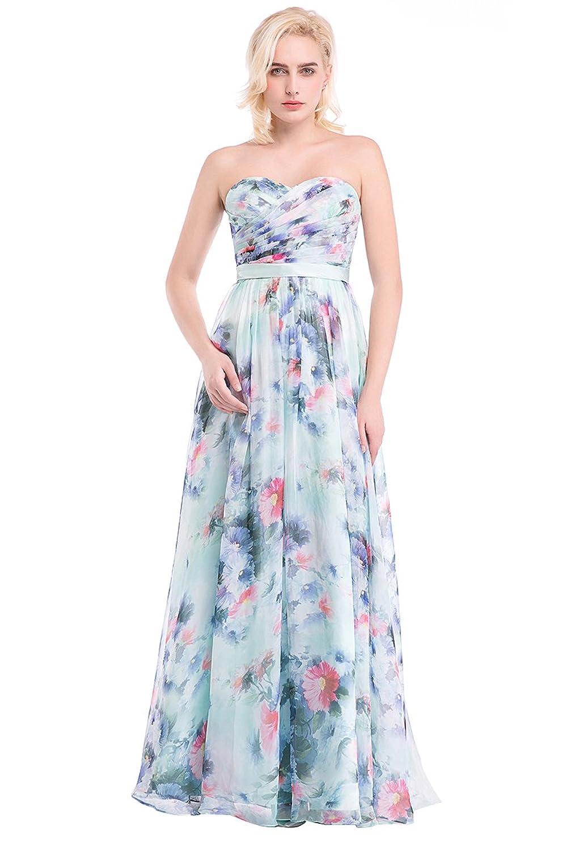 YipGrace Frauen Blumen Druck Lange Abendkleider Abendgarderobe bestellen
