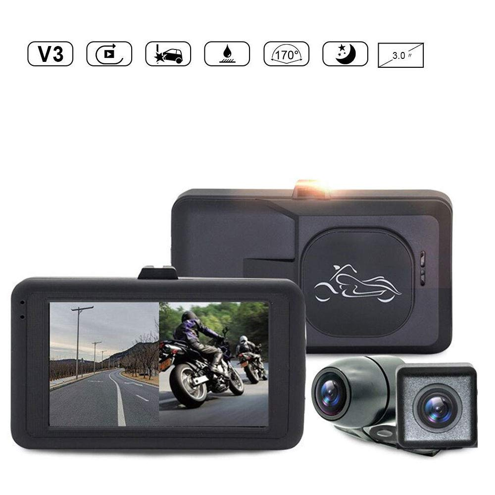 Motorcycle Recorder, Waterproof 720p Dual Lens Motorcycle Dash Cam Video Recorder with 3' LCD Screen 170 Degree Angle Day/Night Vision for Yamaha/Suzuki/Honda/KTM/Bombardier, etc LEEGOAL