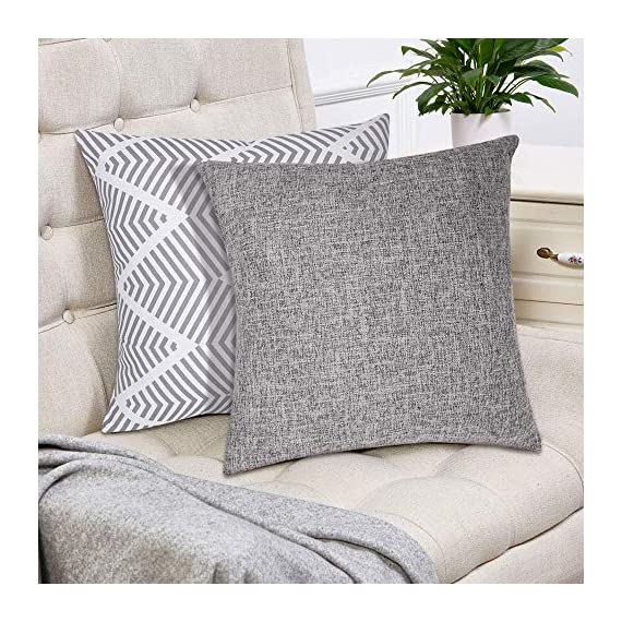 Decorsurface throw pillow covers 18x18 - set of 4, decorative pillow covers for couch and sofa, cotton linen pillow covers set, simple geometric style, grey - Pillow covers size: 18x18 inch(45x45 cm), Fabric: cotton linen, Pack of 4(pillow inserts not included), throw pillow covers are great for couch, sofa, etc. Premium material & simple design: Made of high-quality cotton linen, the fabric is thick and has wrinkle resistance, set of 4 pillow covers contain 2 modern simple styles with grey color. Feature: The invisible zipper design gives your throw pillows more decent look, and it's easy to replace, these decorative pillow covers are available for home sofas, living rooms, cars, etc. Machine wash is available too, please choose the gentle cycle in cold water. - patio, outdoor-throw-pillows, outdoor-decor - 616pj4eZe7L. SS570  -