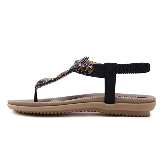 HGB Women's Round Peep Toe Bead Elastic T-Strap Bohemia Roman Sandals  Summer Beach Sandals Flip Flops Sling back Flat Shoes Thongs: Amazon.co.uk:  Shoes & ...