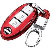日産 スマートキーケース 車用 キーカバー 高級 TPU 軽量 シリコン キーホルダー 汚れ 落下 傷防止 カーリモコンカバーキーセットキーケースに適してニッサン日産Nissan Teana エクストレイル X-TRAIL QASHQAIムラノKICKS TIIDA Maximaリモコン装飾保護アクセサリー (赤)