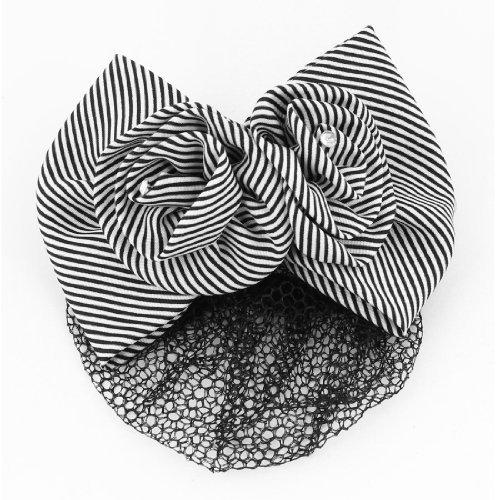 Clip eDealMax Negro Blanco redecilla redecilla del Pelo del arco de la Flor Pasador Para Damas
