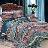 Quilt Set 3 Pieces Bedspread Set 100% Cotton Comforter Set Bohemia Bedding Set - Blue Stripes Queen Size