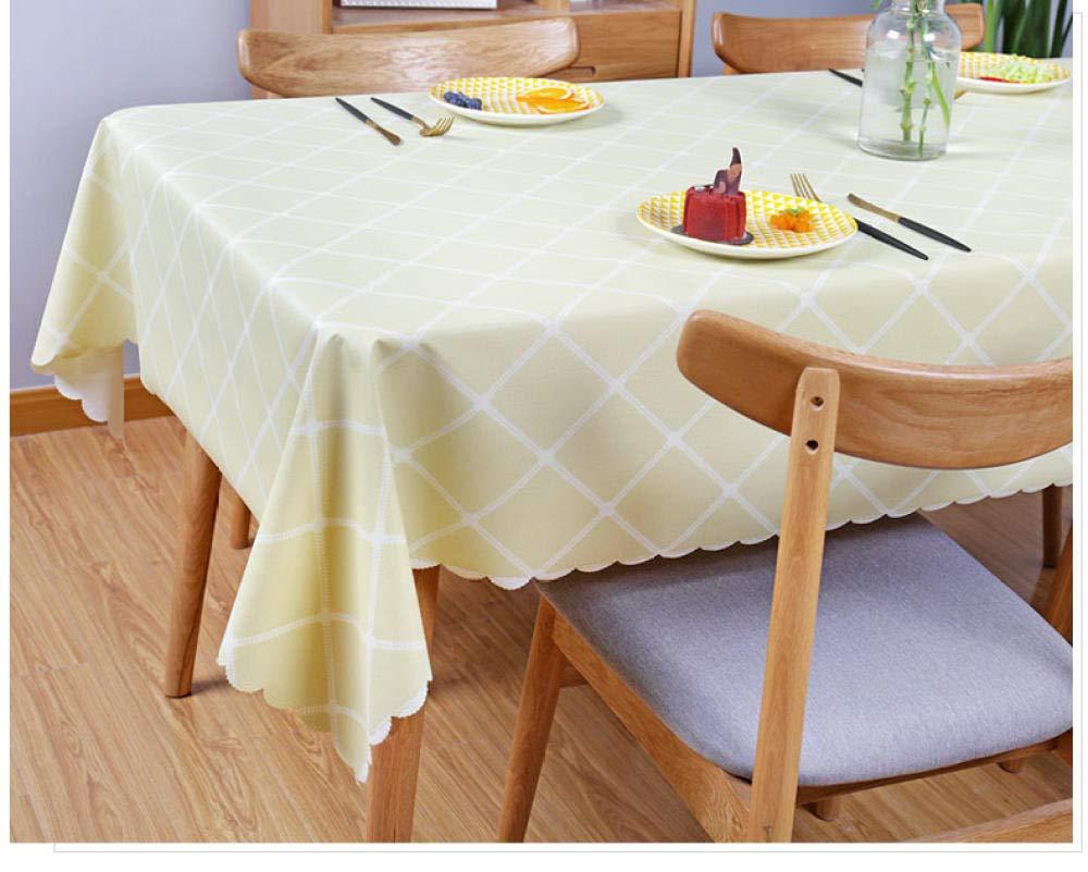 WJJYTX gartentischdecke eckig, quadratische tischdecke tischdecke und Verschiedene größen schmutzabweisende tischdecke PVC baumwollimitat und gelb @ 137 * 182