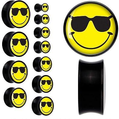 energi 8_bod black acrylic cool shades smiley face saddle plug title 16mm 5