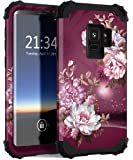 Galaxy S9 Case, SM-G960 Case, Hocase Heavy Duty Shockproof Protection Hard Plastic+Soft Silicone Rubber Hybrid Dual Layer Protective Phone Case for Samsung Galaxy S9 2018 - Burgundy Flowers
