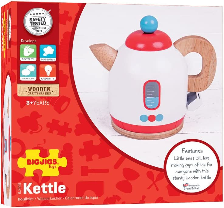 Bigjigs Toys Wooden Kettle Pretend Role Play Kitchen Accessories