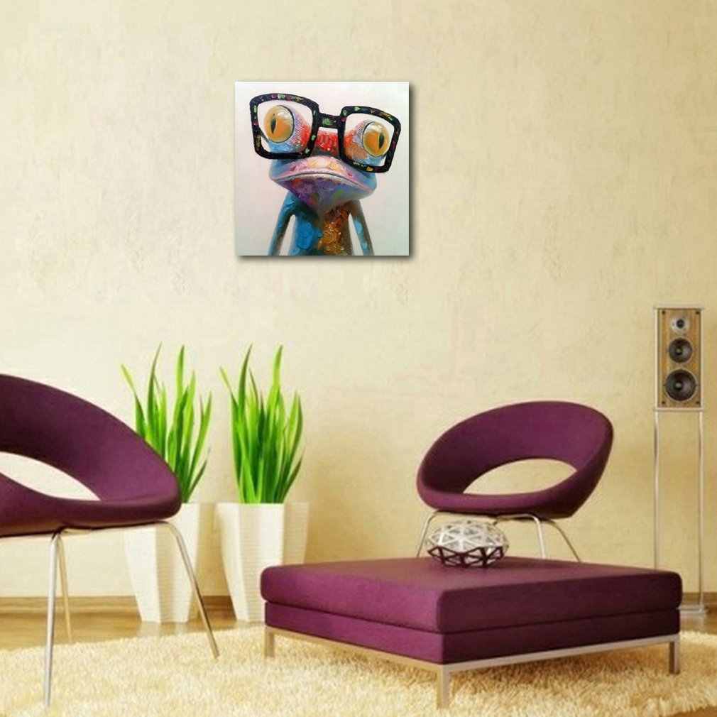 Muzagroo Art Hand Painted Oil Painting Happy Frog on Canvas for ...