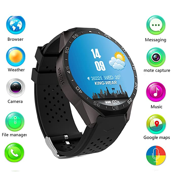 SMARCENT KW88 Bluetooth Smart Watch with SIM Card Slot Compatible, Smart Watch with 3G WIFI GPS Android 5.1 MTK6580 CPU 1.39 inch 2.0MP Camera for ...