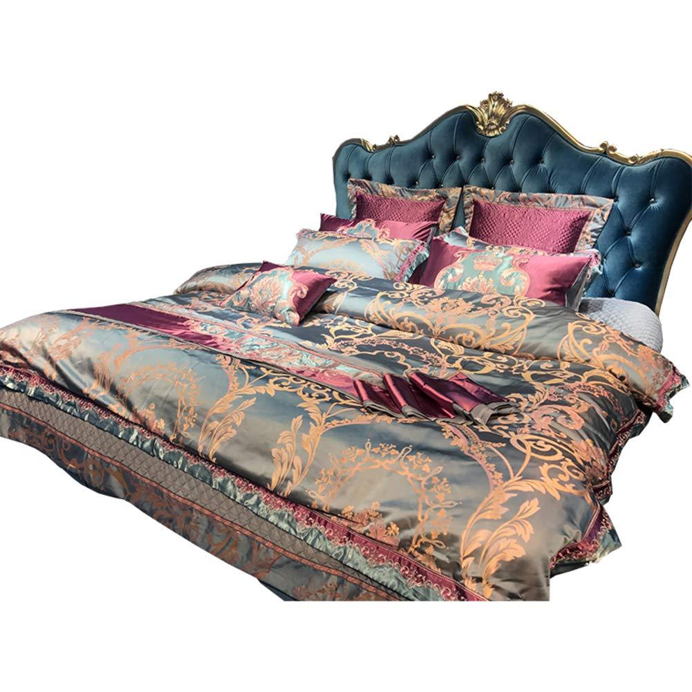 豪華です 羽毛布団カバーセット, コンフォート スペース 綿サテン スーパー キング サイズ ベッド シルク デザイナー スタイル 印刷デザイン と刺繍-A B07P8ZRQ6B