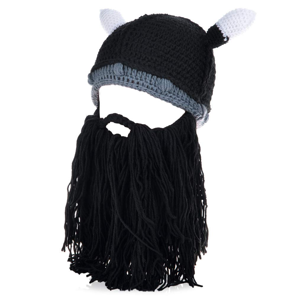 Vbiger Windproof Warm Knitted Beanie Hat Cap, Ox Horn and Beard, Black 3, OSFA