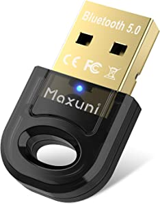 Bluetooth Adapter for PC - Maxuni Bluetooth Dongle 5.0 Adapter for Windows 10/8.1/8/7 for Computer Desktop, Laptop, Keyboard, Mouse, Headset, Speaker - USB Mini Bluetooth 5.0 Dongle