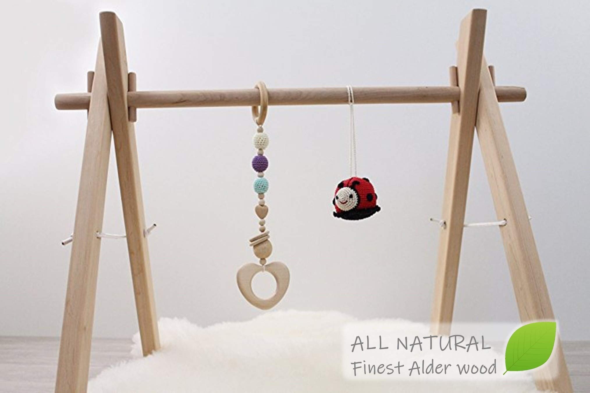 Wooden baby gym frame, foldable play gym, activity gym, hanging bar, baby play gym bar, wood, non toxic, organic