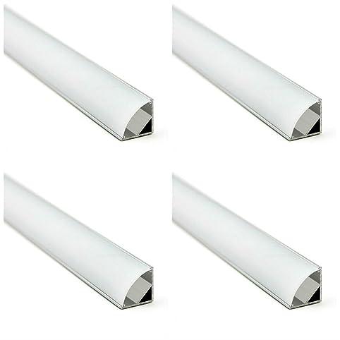 KingLed - 4 Pezzi di Profilo in Alluminio Angolare da 1 Metro per ...