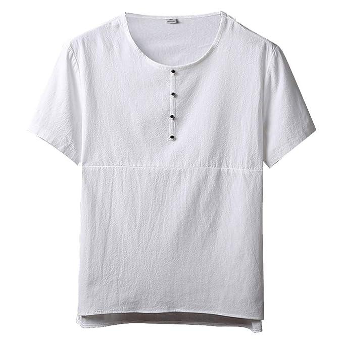 Internet_Camiseta de Algodón y Lino Holgada de Manga Corta de Color sólido para Hombre,Cuello