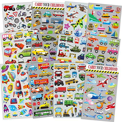 HORIECHALY Transportation Stickers for Kids 12 Sheets with Cars, Airplane, Train , Motorbike, Ambulance, Police Car, Fire Trucks, School Bus, Spaceship, Rocket and More! ()