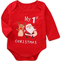 8ce50c417e45 Kehome Baby Girls Boy Outfits My First Christmas Clothes Long Sleeve Cotton  Romper Xmas Moose Elk