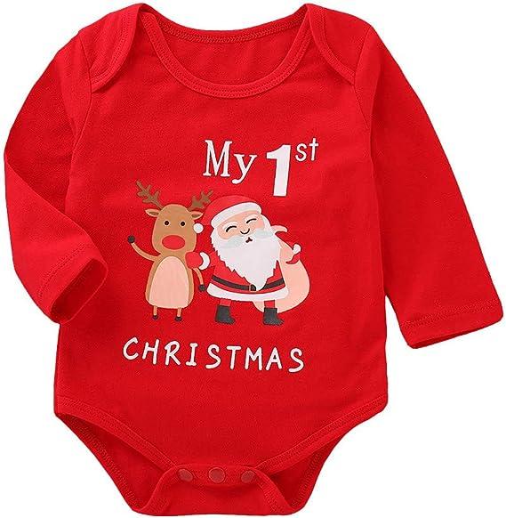 Navidad Ropa Bebe Recien Nacido Monos MY First Christmas Tops Bodies con Patrón de Papá Noel para 0-12 Meses Niña Niño: Amazon.es: Ropa y accesorios