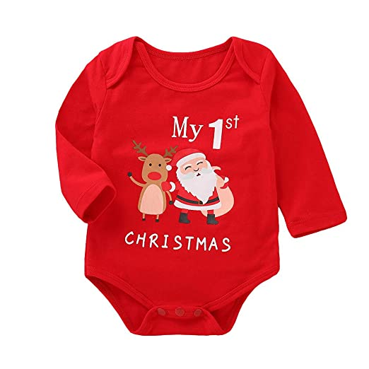 Sameno Infant Baby Girls Boys My 1st Christmas Clothes Long Sleeve Letter  Print Jumpsuit Romper Outfit - Amazon.com: Sameno Infant Baby Girls Boys My 1st Christmas Clothes