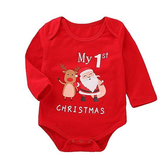 Navidad Ropa Bebe Recien Nacido Monos MY First Christmas Tops Bodies con Patrón de Papá Noel para 0-12 Meses Niña Niño