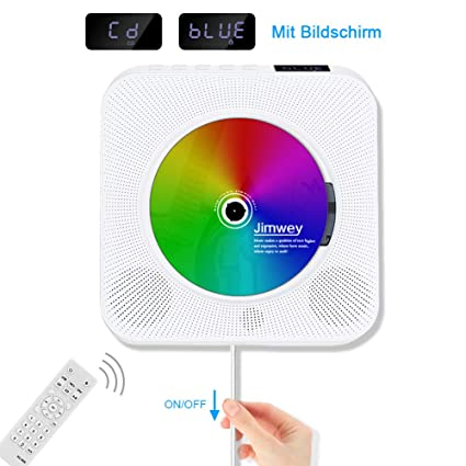 Jimwey CD Player Wandmontierbarer Bluetooth Lautsprecher FM Radio MP3 USB Musikplayer mit Schlaf-Timer LED Display Fernbedien