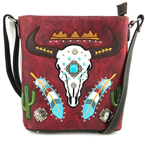 Justin West Native Longhorn Cow Skull Cactus Feather Color Conceal Carry Shoulder Handbag Purse | Trifold Wallet (Red Messenger Only)