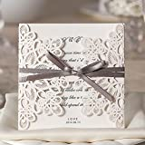 White Laser Cut Lace Flowers Wedding Invitations Elegant Marriage Party Decoration Invite Card with Ribbon WM207_WH (100)