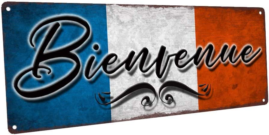 EricauBird Bienvenue French Welcome Metal Sign Vintage Wall Decor Personalized Retro Panel for Kitchen and Dining Room
