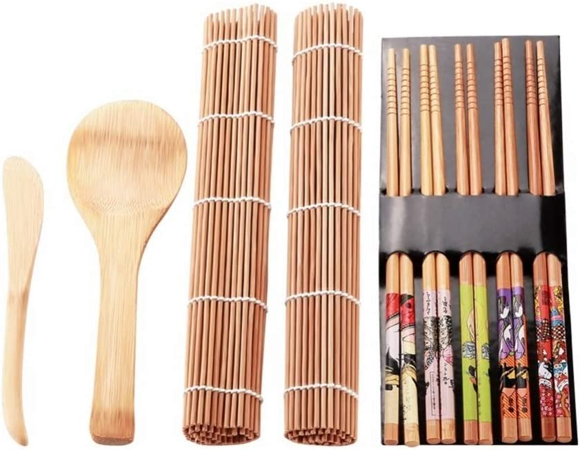 CheeseandU Sushi Making Kit Bamboo All Natural Including 2 Rolling Mats 5 Pairs Chopsticks Spoon and Knife Spreader for Meat and Rice Japanese Style for Home DIY Food lover Sushi Making Beginner